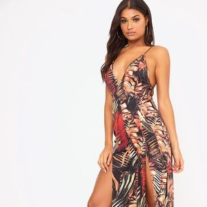 Orange Palm Print Leaf Split Leg Jumpsuit - PLT